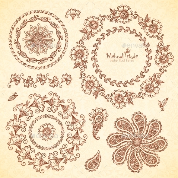 Indian Mehndi Round Frames Set - Decorative Symbols Decorative