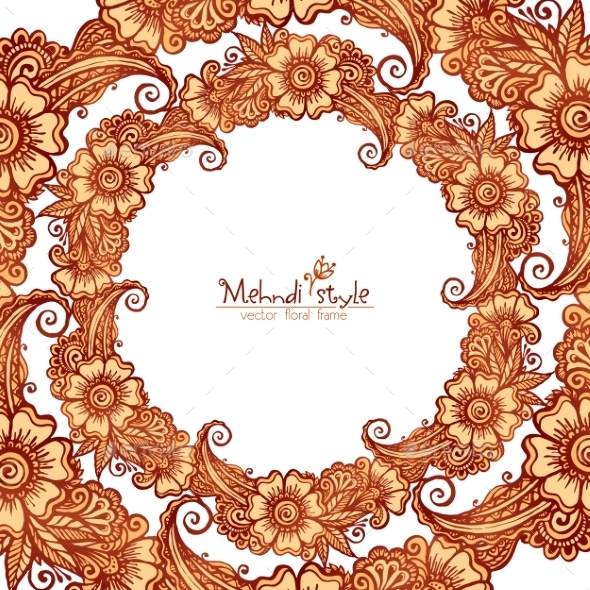 Decorative Round Frame in Indian Mehndi Style - Borders Decorative