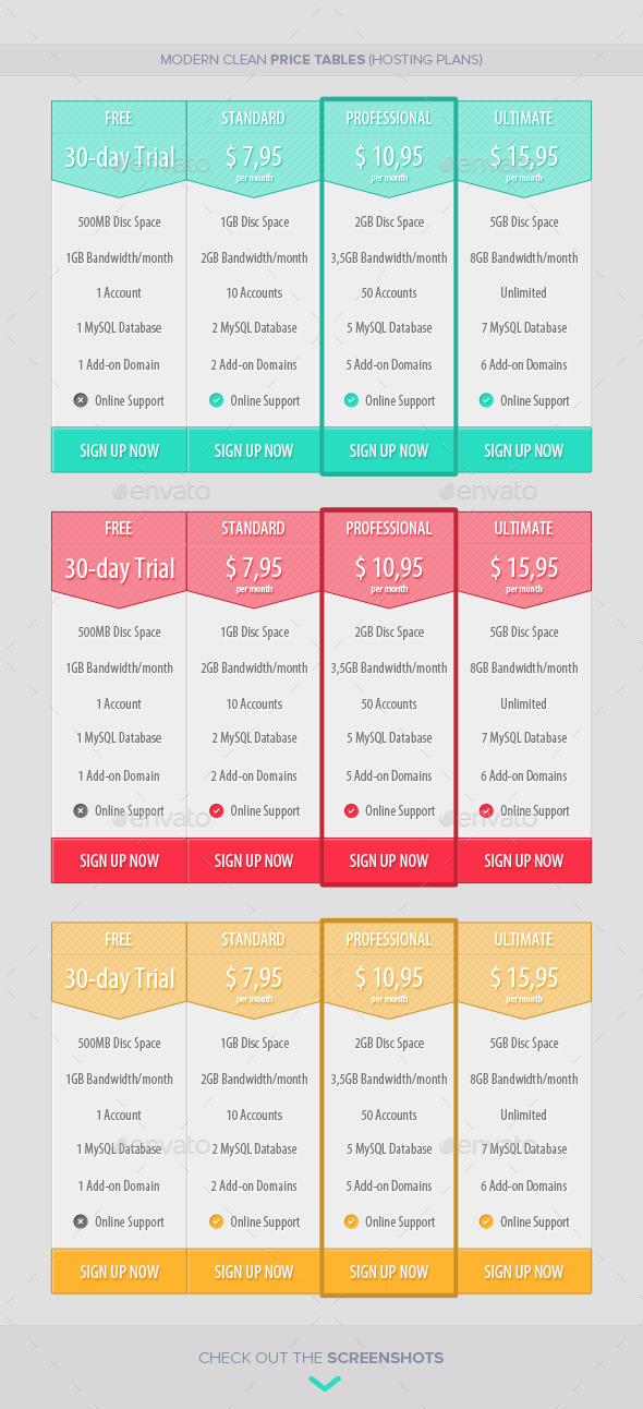 Modern Clean Price Tables (Hosting Plans) - Tables Web Elements