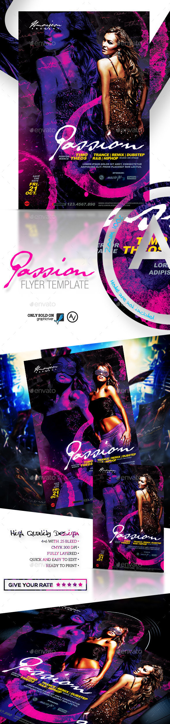 Passion Flyer Template - Clubs & Parties Events