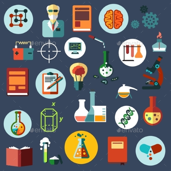 Science And Research Flat Icons - Objects Vectors