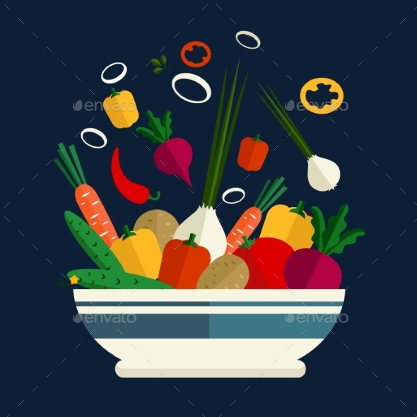 Cooking Of Fresh Vegetable Salad - Food Objects