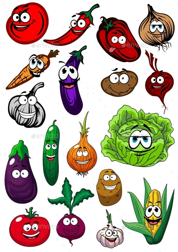 Cartoon Organic Farm Vegetables Characters - Food Objects