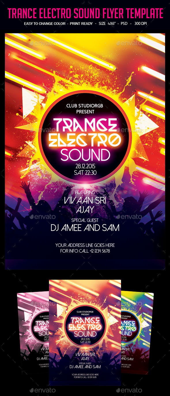 Trance Electro Sound Flyer Template - Clubs & Parties Events