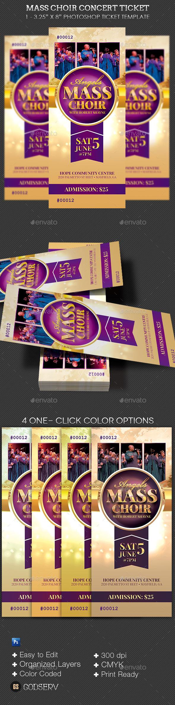 Mass Choir Concert Ticket Template - Cards & Invites Print Templates