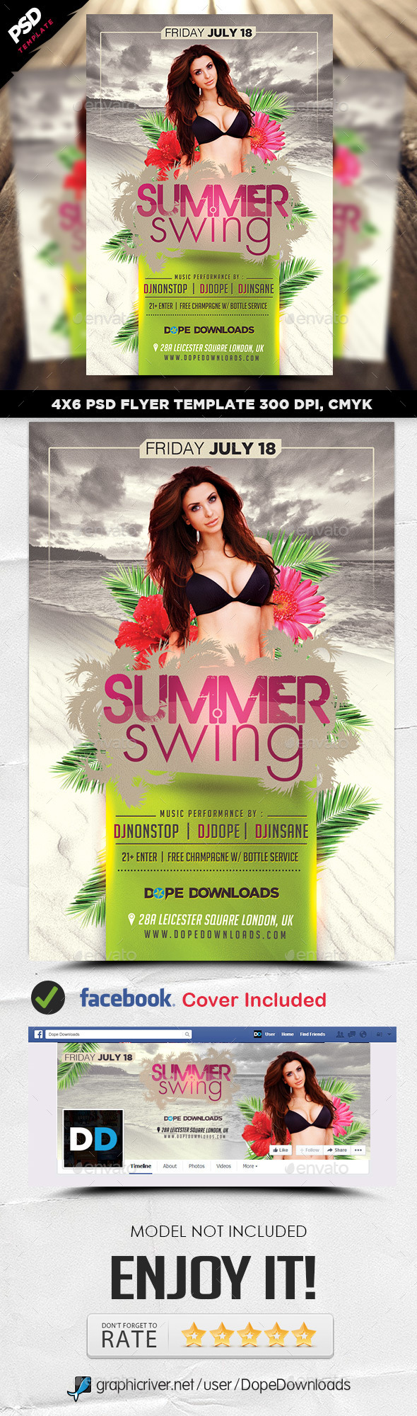 Summer Swing Flyer Template - Clubs & Parties Events