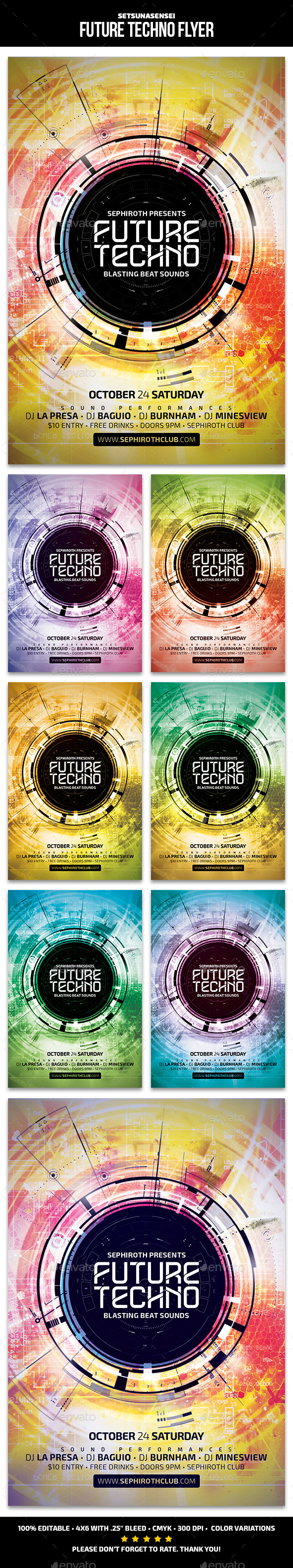 Future Techno Flyer - Clubs & Parties Events