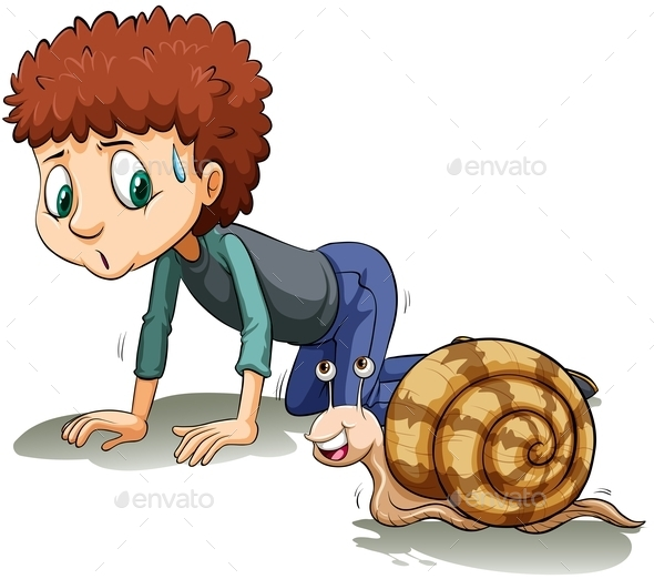 A Boy Following the Snail - People Characters