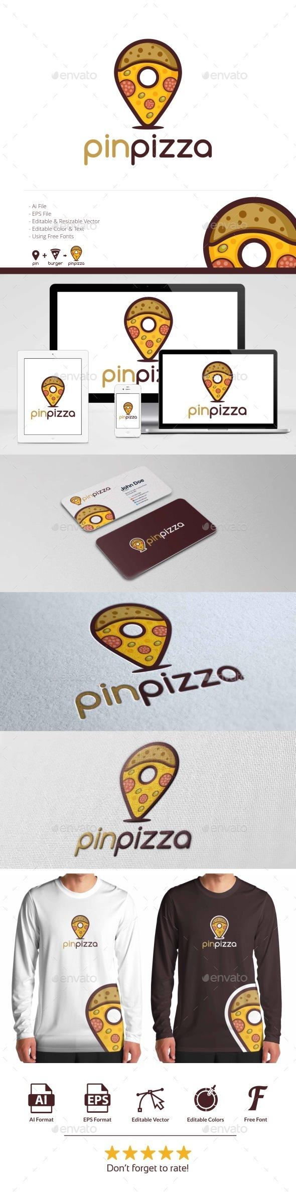 Pin Pizza Logo - Symbols Logo Templates