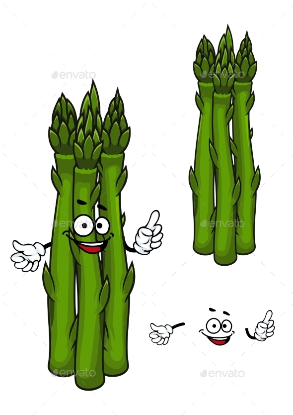 Green Asparagus Vegetable Cartoon Character - Food Objects