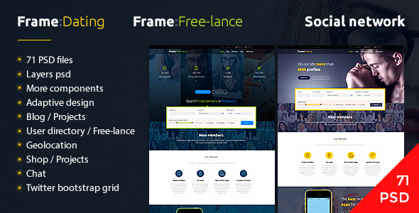 Frame Dating - Social Dating Network PSD - Miscellaneous PSD Templates