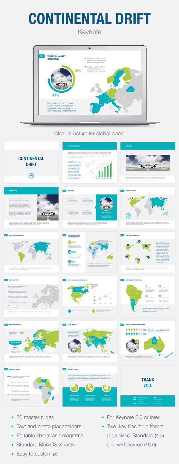 Continental Drift Keynote Template - Abstract Keynote Templates