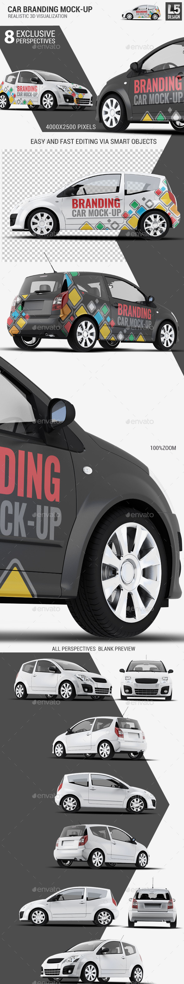 City Car Branding Mock-up - Vehicle Wraps Print