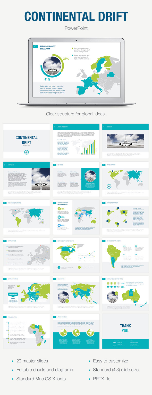 Continental Drift PowerPoint Template - Abstract PowerPoint Templates