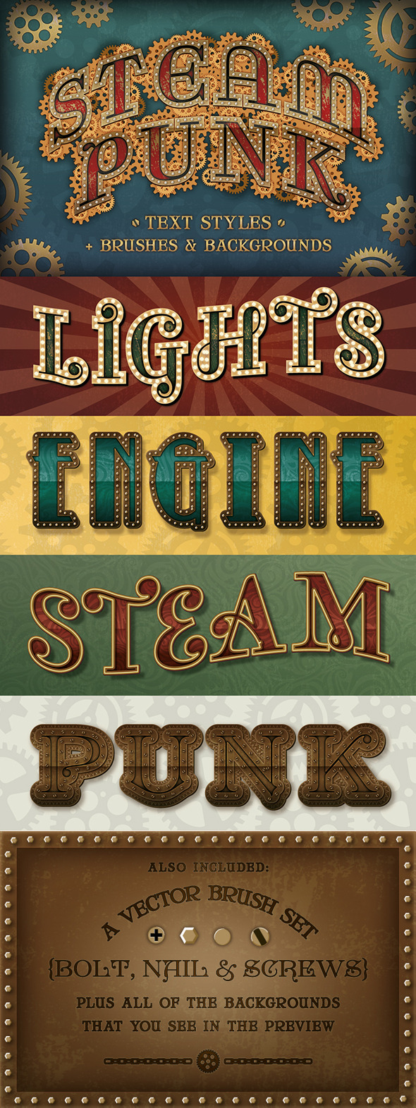 Steam Punk Text Styles + Brushes & Backgrounds - Styles Illustrator