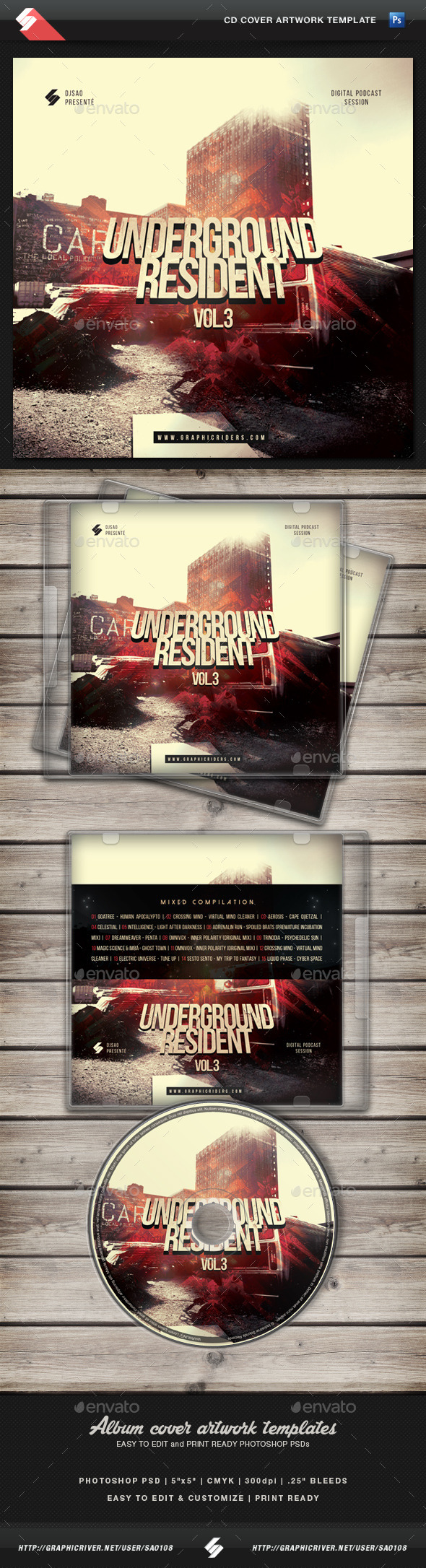 Underground Resident vol.3 - CD Cover Template  - CD & DVD Artwork Print Templates