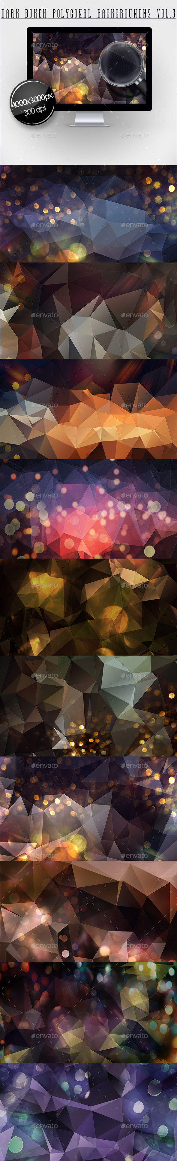 Dark Bokeh Polygonal Backgrounds Vol.3 - Abstract Backgrounds