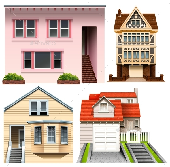 Four House Designs - Buildings Objects