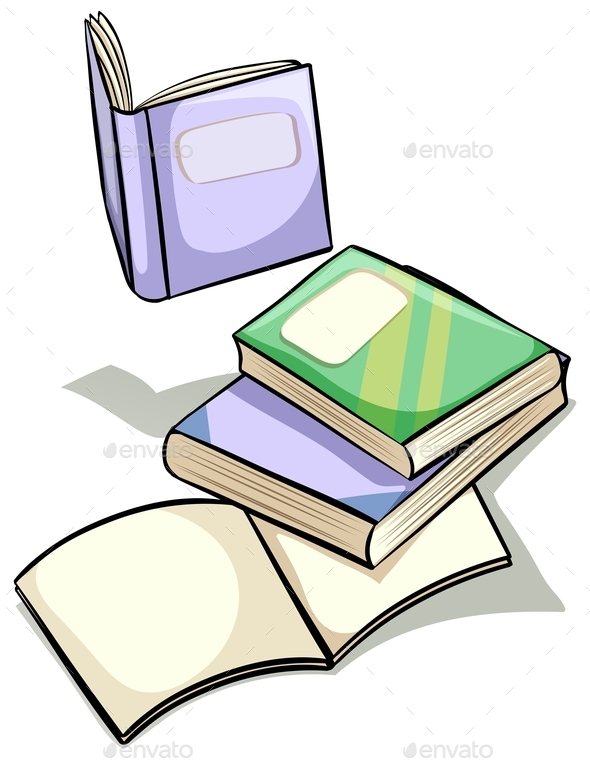 Set of Books - Objects Vectors