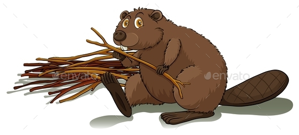 Beaver Holding a Stick - Animals Characters