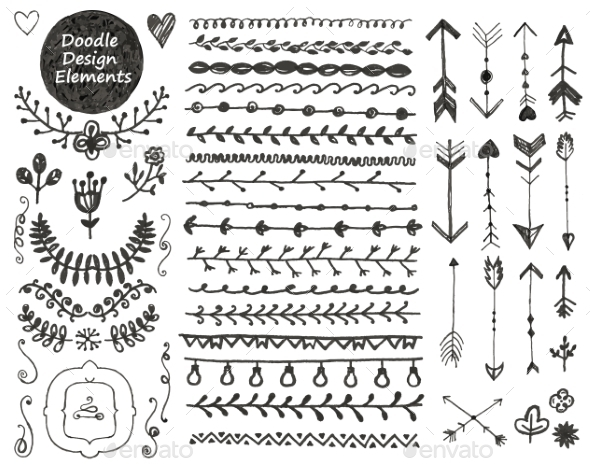 Vector Floral Decor Set, Collection Of Hand Drawn - Borders Decorative