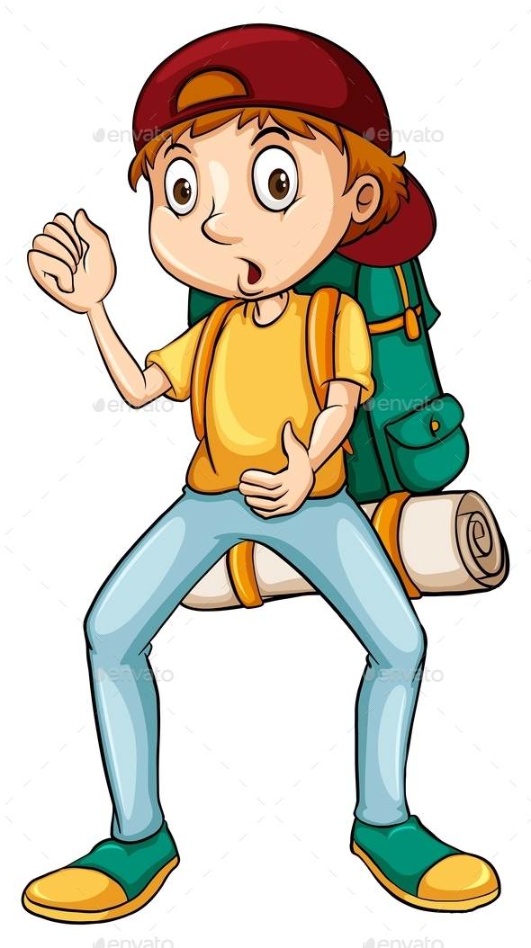 Man Carrying a Backpack - People Characters