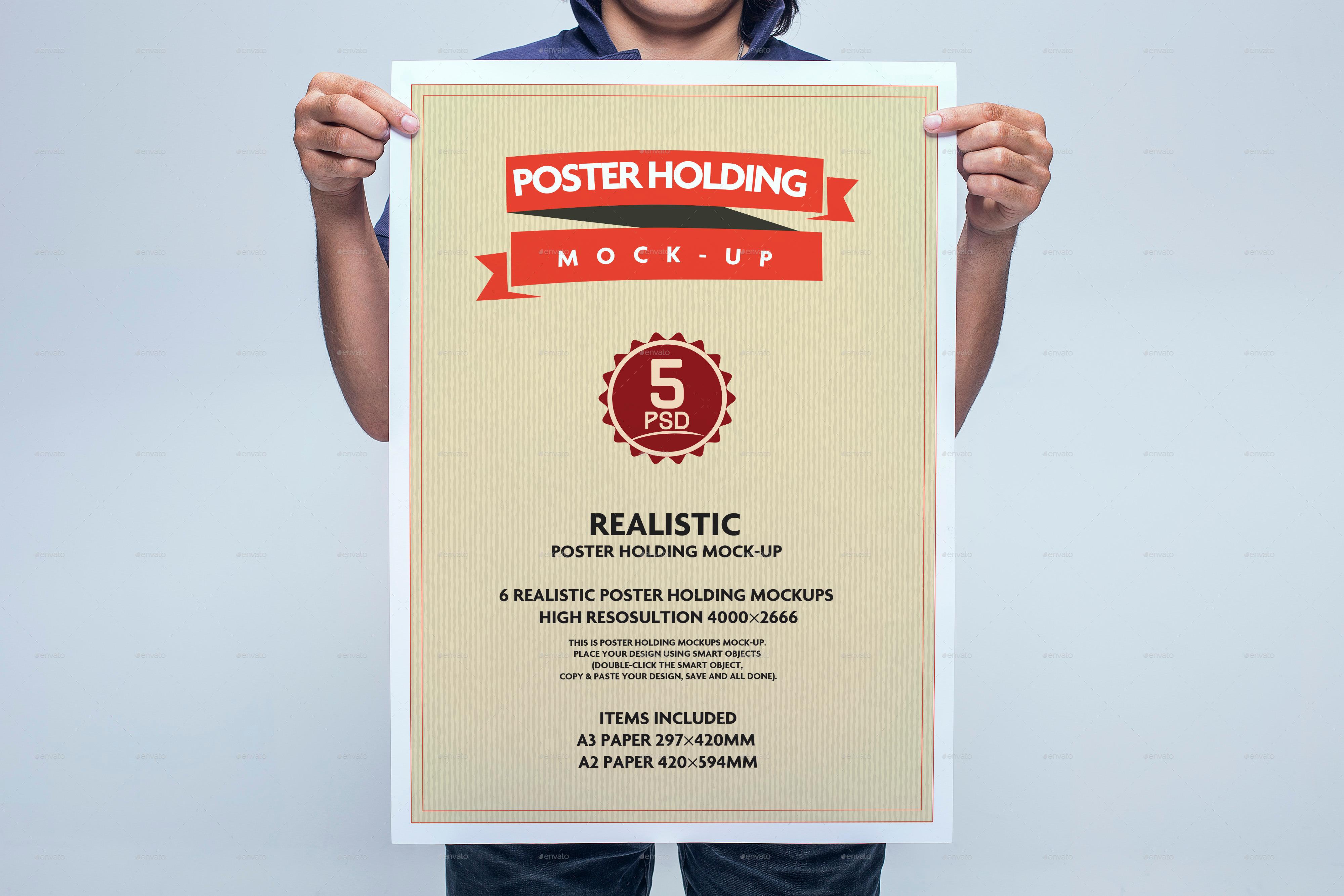 6 poster design photo mockups - Realistic Poster Holding Mock Up