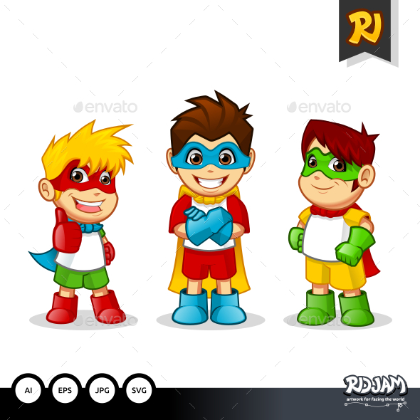 Colorful Kid Super Heroes - People Characters