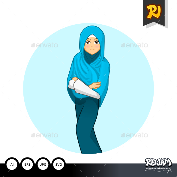 Muslim Woman with Folded Arms Wearing Blue Veil - People Characters