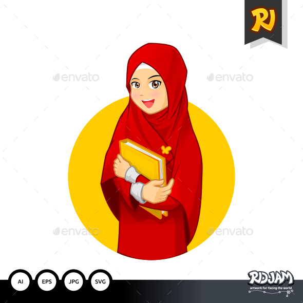 Muslim Woman Hugging a Book Wearing Red Veil - People Characters