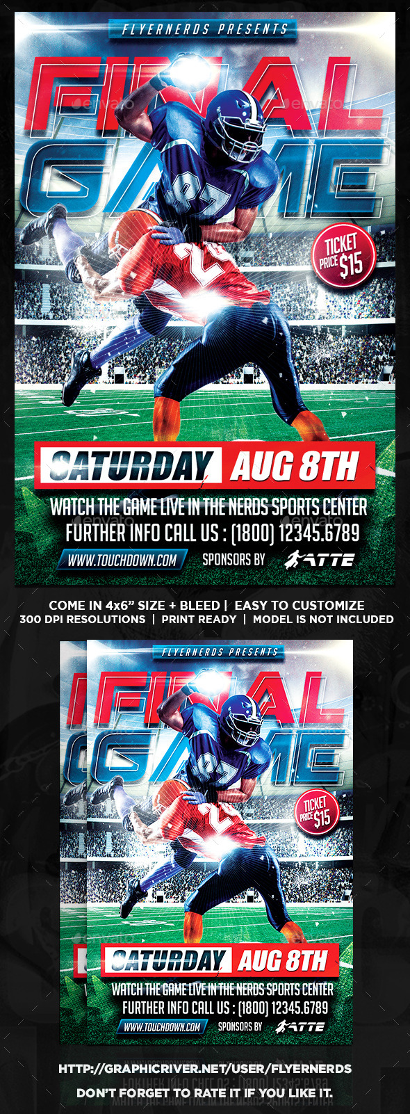 Final Game Football Sports Flyer - Sports Events
