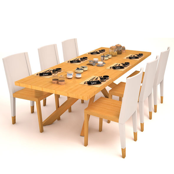 Dining table set - 3DOcean Item for Sale