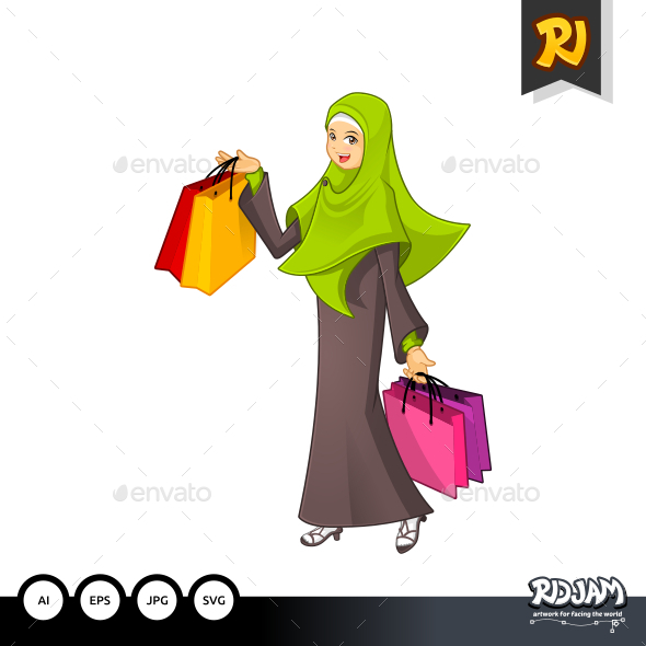 Muslim Woman Holding a Shopping Bag - People Characters