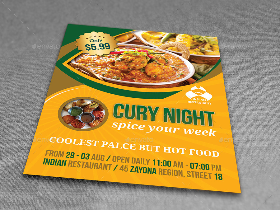Indian Restaurant Flyer Template By Owpictures  Graphicriver