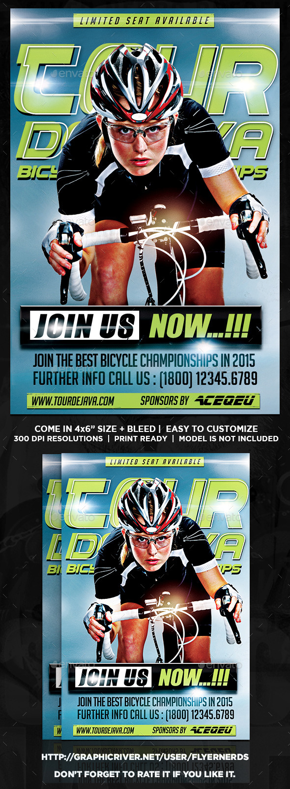 Tour De Java Bicycle Championships Sports Flyer  - Sports Events