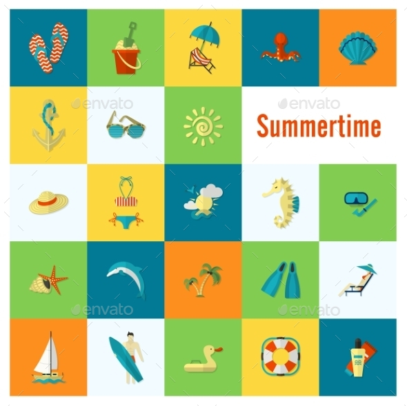 Summer And Beach Simple Flat Icons - Travel Conceptual