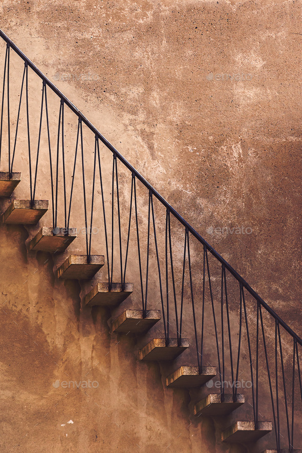 Old Vintage Concrete Staircase, Side View - Stock Photo - Images