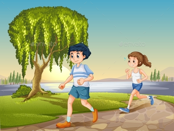 Couple Jogging - People Characters