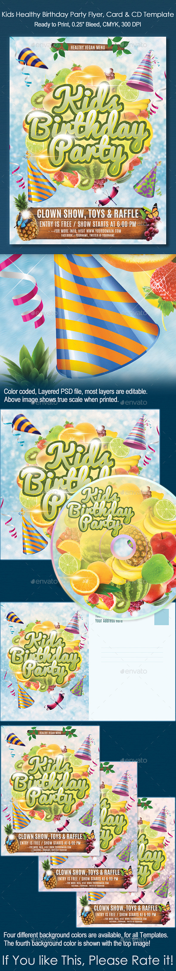 Kids Healthy Birthday Party Flyer, Card and CD - Clubs & Parties Events