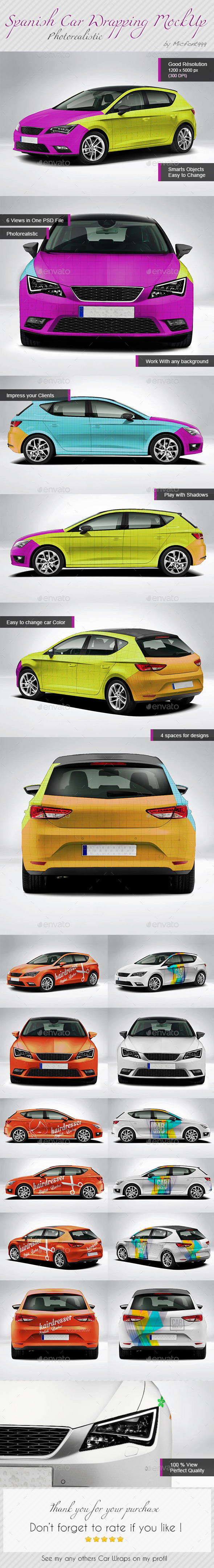 Photorealistic Spanish Leon Car Mock-up - Vehicle Wraps Print