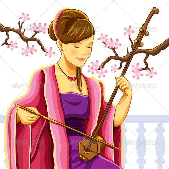 Beautiful Chinese Erhu Player - People Characters