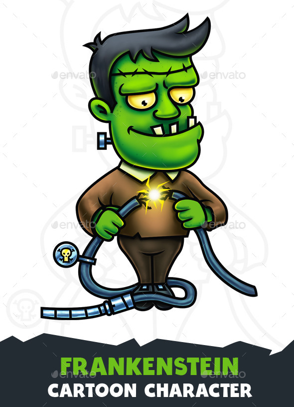 Frankenstein Cartoon Character Digital Painting - Characters Illustrations