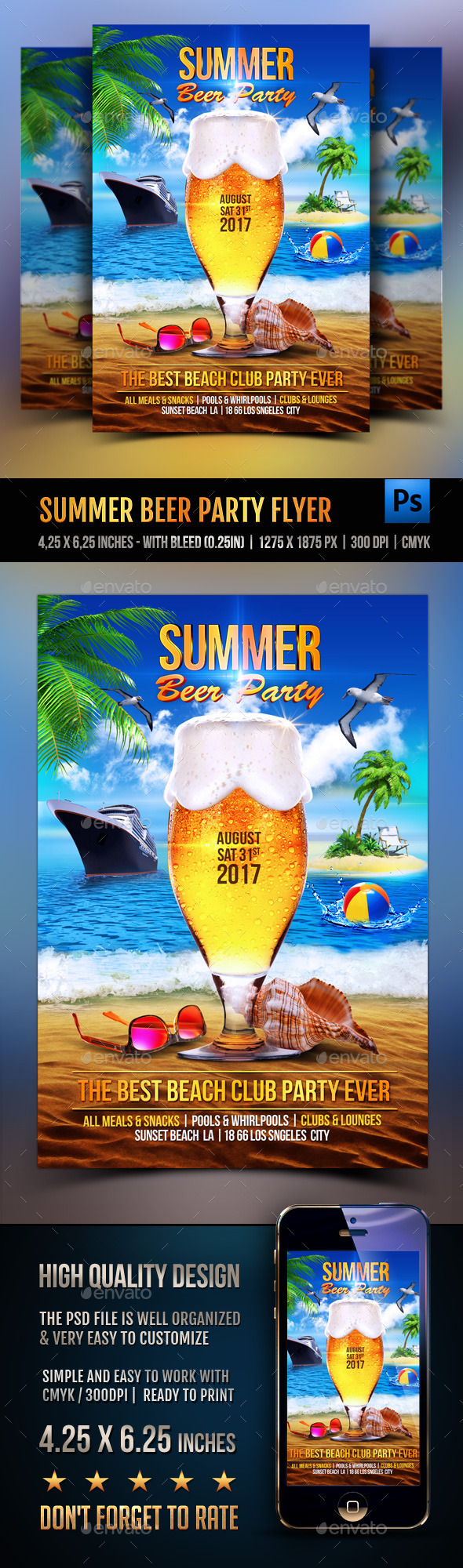 Summer Beer Party Flyer - Clubs & Parties Events