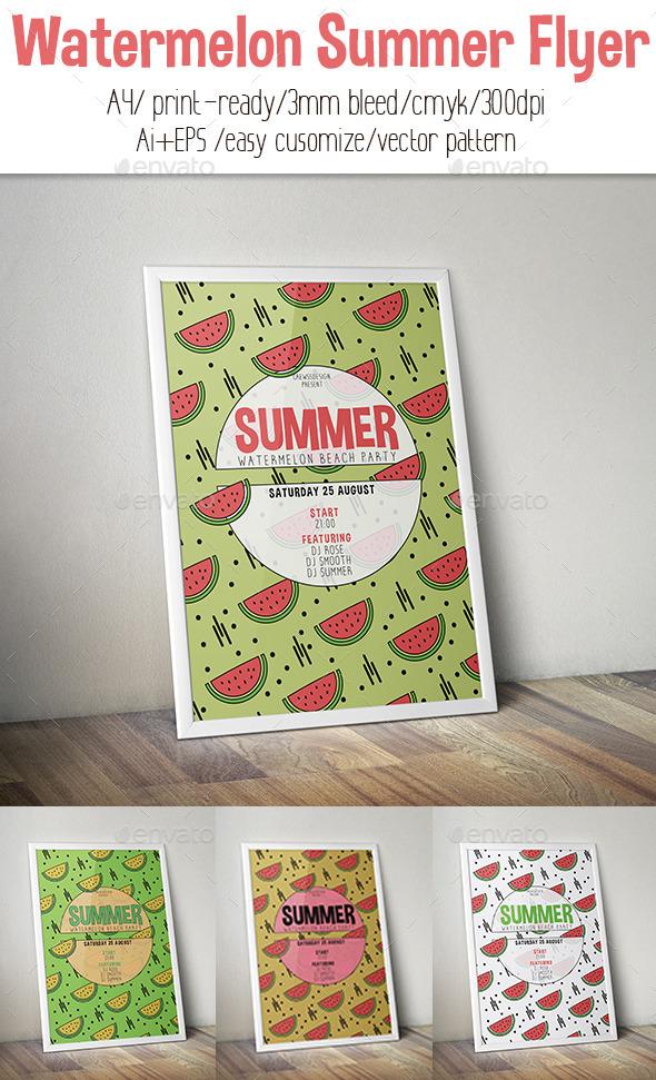Watermelon Summer Flyer - Flyers Print Templates