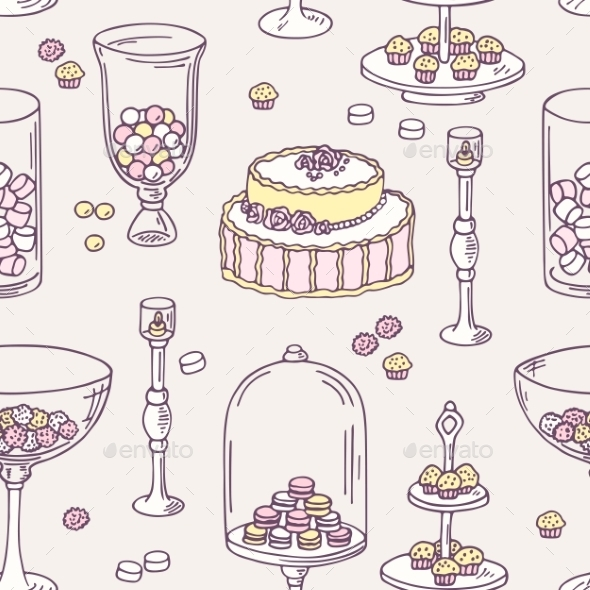 Seamless Pattern With Hand Drawn Candy Bar Objects - Patterns Decorative
