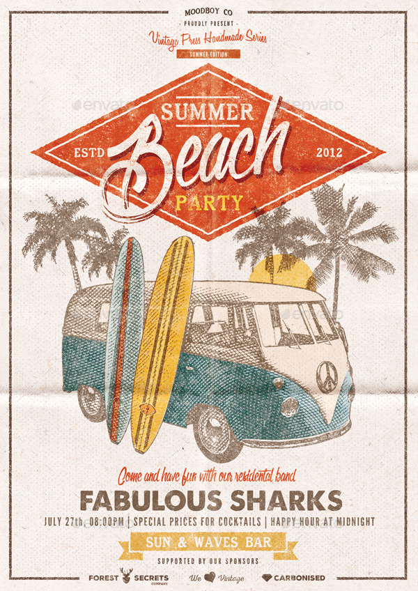 summer beach party flyer  poster by moodboy