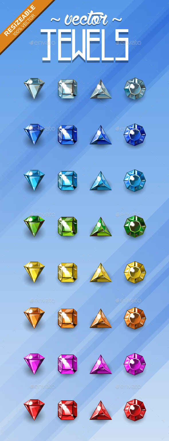Game Jewel Sprites - Vector - Sprites Game Assets