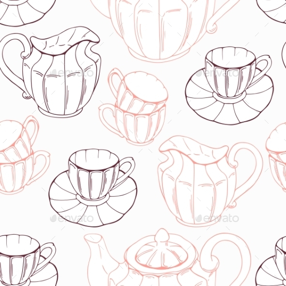 Seamless Pattern With Sketch Style Tea Service And - Patterns Decorative