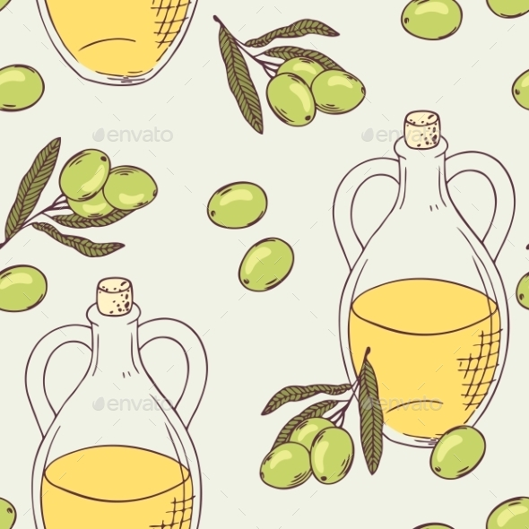 Seamless Pattern With Hand Drawn Olive Oil - Patterns Decorative