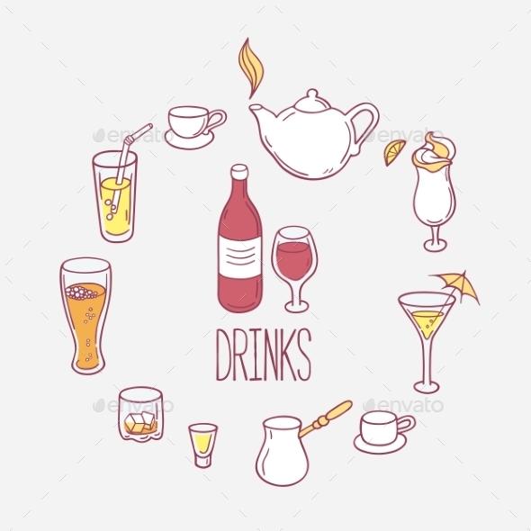 Set Of Doodles Drinks In Vector. - Objects Vectors